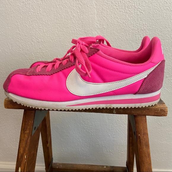 Neon Hot Pink Nike Cortez Sneaker Shoes